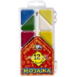 """Краски Акварель Гамма серия """"Мозаика"""" 12 цв с кисточкой 312053"""