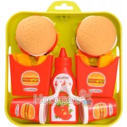 """Набор продуктов Ecoiffier """"Гамбургер"""" с подносом"""