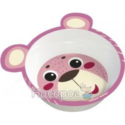 Мисочка антипідслизгова з вушками Canpol babies рожева 4/520