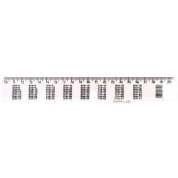 Лінійка біла з таблицею множення 20 см (Лелет)