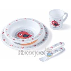 Набор посуды столовый Canpol - Птичка Cute Animals 4 / 401_red