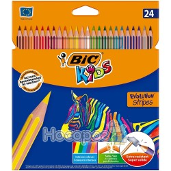Карандаши цветные BIC Evolution Stripes 24 цвета 950525
