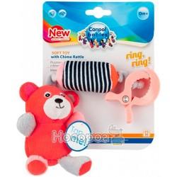Игрушка плюшевая Canpol babies с колокольчиком BEARS 0+ коралл