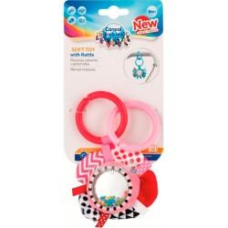 Игрушка плюшевая Canpol babies с погремушкой 0+ Zig Zag розовая лента