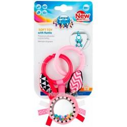 Игрушка плюшевая Canpol babies с погремушкой 0+ Zig Zag розовый кролик