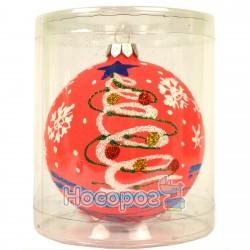 Іграшка новорічна КУЛЯ 3Д рожева Д-16