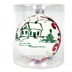 Іграшка новорічна КУЛЯ 3Д біло-червона Д-12