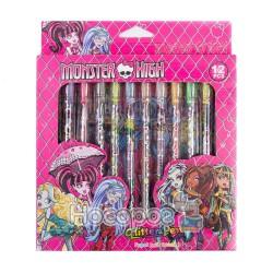 """Набор гелевых ручек с блестками 12 цветов 809-12 """"Monster High"""""""
