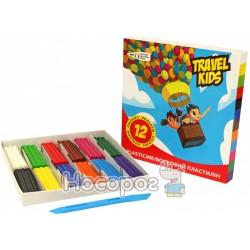 Пластилін Гамма Travel Kids Восковий 12 кольорів