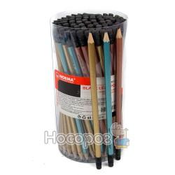 Карандаши чернографитные NORMA 401 НВ, с ластиком, металлик, ассорти (01131190)