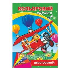 Картон цветной двусторонний Руслан А4, 10арк.