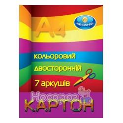 Картон цветной двусторонний Тетрада А4, 7л.
