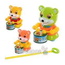 Каталка 1123 A на палці ведмідь-барабанщик (моргає), 3 кольори