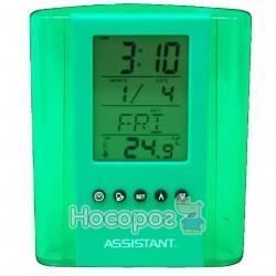 Подставка-часы для ручек ASSISTANT AH-1050 green