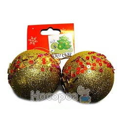 Набор новогодний с 2 шаров, красного цвета на европодвесом C0106722-LT. RED