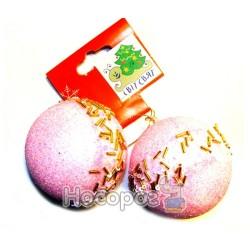 Набор новогодний с 2 шаров, розового цвета на европодвесе C0106722-LT. ROSE