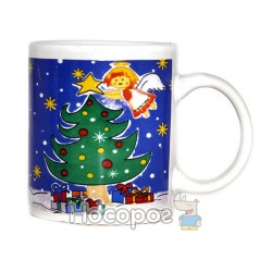 Чашка з новорічним малюнком, в подарунковій коробці 7102-2