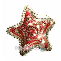 Новорічна підвіска у формі зірки, червоно-золота W3508G-R