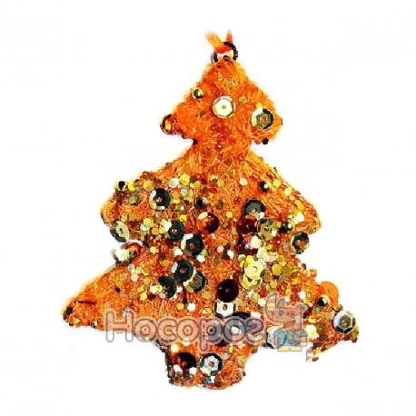 Фото Новорічна підвіска у формі ялинки, з дроту, оранжева GA865534-14OG