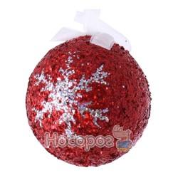 Шар красный с блестками и узором YCQ6691