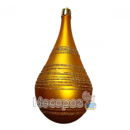Фото HGPW-BYJ13001G Новорічна куля продовгастої форми з блискучою полоскою ,h13см, золотого кольору (шт.