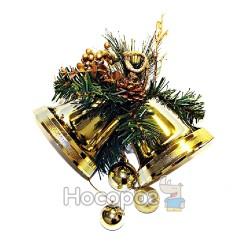 Подвеска с 2-х золотых колокольчиков с хвоей и золотыми украшениями X2367-N02-G