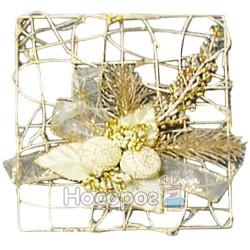 Підвіска з дроту квадратна, з біло-золотими прикрасами, золота A68-B20125/8F