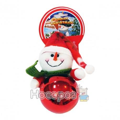 Фото Підвіска куля+м'яка іграшка сніговик, червона GD8C089B