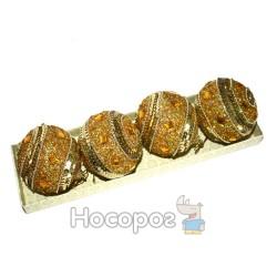 Набір з 4-х золотистих куль з камінням та блискітками HZ38-4606/80G