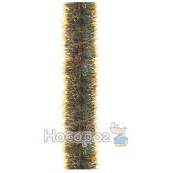 Гирлянда 100 зеленая матовая с золотыми кончиками 3м