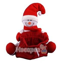 Новорічна декорація JAX6855B Санта/Сніговик з мішком для подарунків