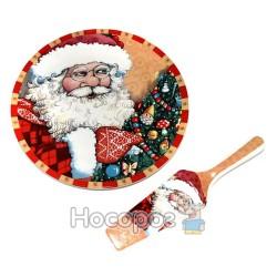 Тарелка-тортовница и лопатка с новогодним рисунком (2 вида) GST3101