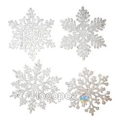 """Підвіска """"Сніжинка"""", набір з 4-х шт, d10см, колір: срібний, 4 дизайни, в п/п на європідвісі, виріб"""