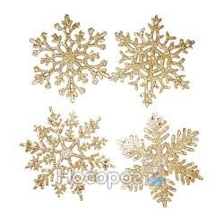 """Підвіска """"Сніжинка"""", набір з 4-х шт, d10см, колір: золотий, 4 дизайни, в п/п на європідвісі, виріб"""
