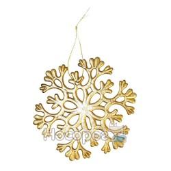 Підвіска -сніжинка, d11см, колір: золотий, в п/п на європідвісі, виріб для новорiчних та рiздвяних