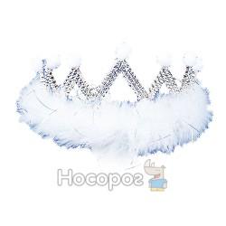 Корона JAP2062B детская с камнями и пухом, пластиковая, серебряная