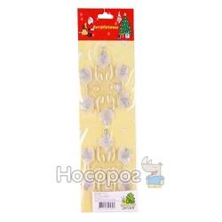 Набір YK7277/2 новорічних підвісок - сніжинок, 2шт, з срібним декором