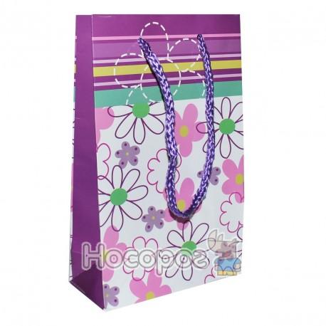 Пакет подарочный Голограмма Цветы 18х11х5 см