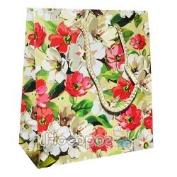 Пакет подарочный Голограмма Цветы 18х16х7,5 см