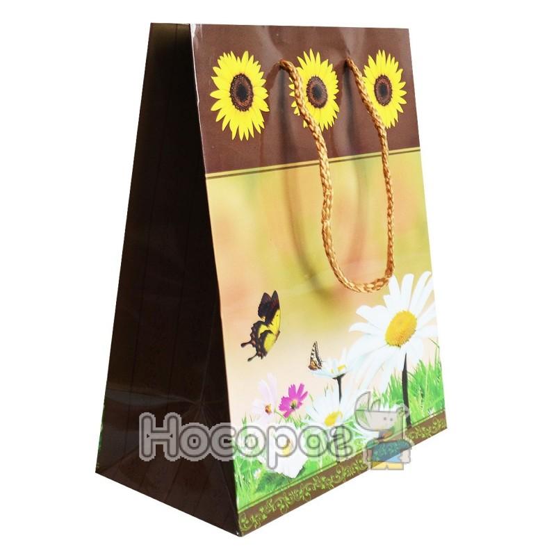 Фото Пакет подарунковий Голограма/Квіти 23х18х10 (12 ШТ)