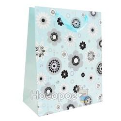 Пакет подарунковий синій з розами малий M022 (12 ШТ)