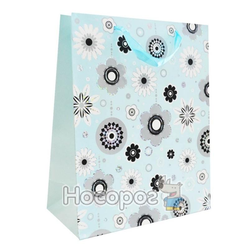 Фото Пакет подарунковий синій з розами малий M022 (12 ШТ)