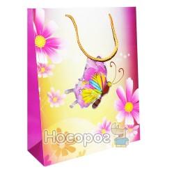 Пакет подарунковий метелики з золотом великий XDL1901 (12 ШТ)