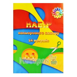 Бумага цветная Тетрада А4, 14л.