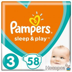 Подгузники Pampers Sleep & Play Размер 3 (Midi) 6-10 кг, 58 шт. (4015400224211)