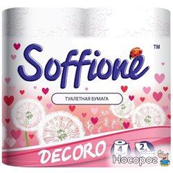 Туалетная бумага Soffione Decoro 2 слоя 4 рулона Бело-розовая (4820003833018)