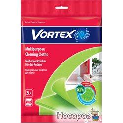 Серветки Vortex для сухого та вологого прибирання віскозні 3 шт (4820048488105)