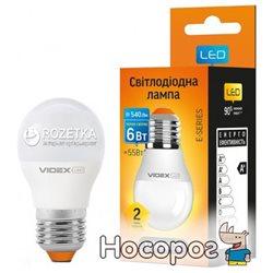 Светодиодная лампа VIDEX E-Series G45e 6W E27 3000K 220V (VL-G45e-06273)