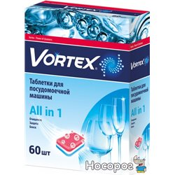 Таблетки для посудомийних машин Vortex all in 1 60 шт (4823071618600)