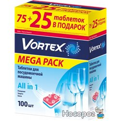 Таблетки для посудомийних машин Vortex all in 1 100 шт (4823071623093)